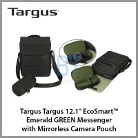 "Targus 12.1"" EcoSmart™ Emerald GREEN Messenger with Mirrorless Camera Pouch"