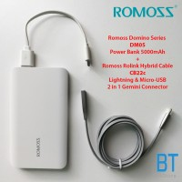 Romoss Domino 5000mAh Power Bank DM05 (White) with RoLink Hybrid Cable (Grey)