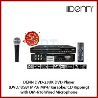 DENN DVD-23UK DVD Player (DVD/ USB/ MP3/ MP4/ Karaoke/ CD Ripping) with DM-616 Wired Microphone