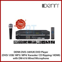 DENN DVD-34HUK DVD Player (DVD/ USB/ MP3/ MP4/ Karaoke/ CD Ripping/ HDMI Output) with DM-616 Wired Microphone